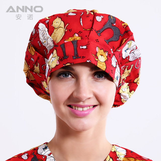 Red Naughty Cat  pattern printing Bon Cap scrub hats Women  hats suitable for long  hair with comfortable doctor hat nurse hat