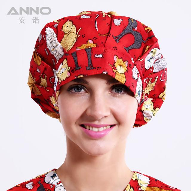 Rojo Travieso Gato patrón de impresión Bon Cap sombreros de matorral de Las Mujeres sombreros adecuado para el pelo largo con cómodo sombrero de médico enfermera sombrero
