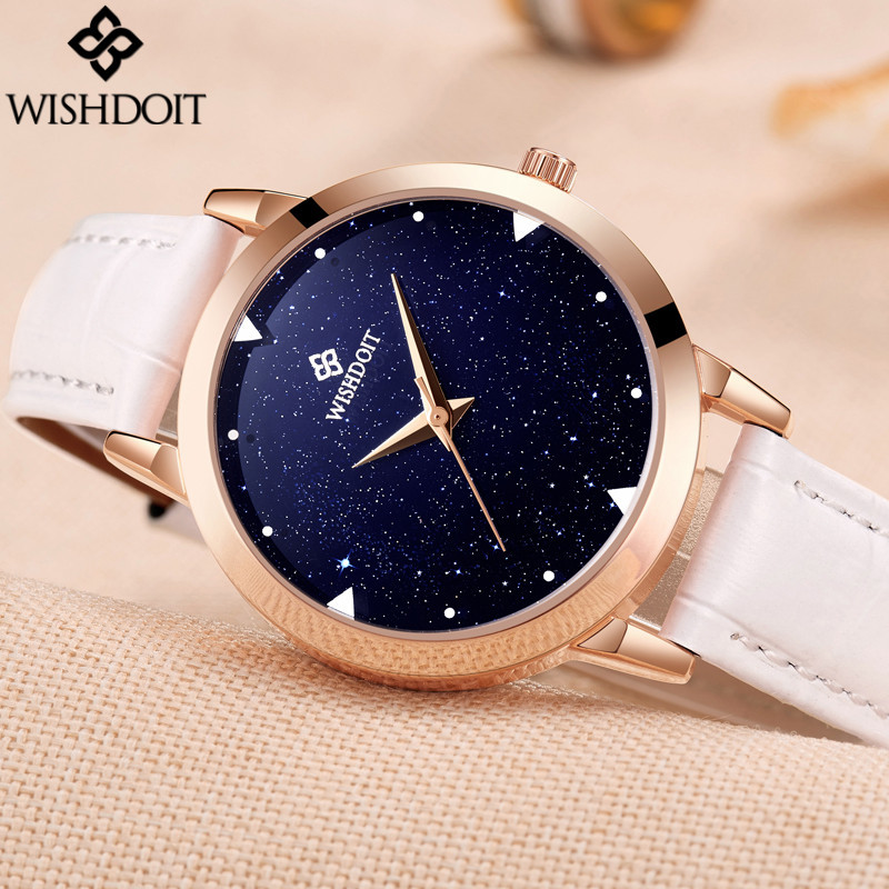 relogio feminino 2017 New WISHDOIT Women Watches Starry Sky Design Luxury Brand Clock Ladies Fashion Leather Strap Quartz Watch