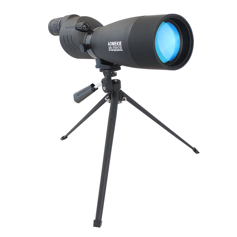 AOMEKIE New Style 25-75X70 Zoom Spotting Scope for Birdwatching Hunting Bak4 Prism FMC Lens Monocular Telescope with Tripod universal 8x zoom optical lens adjustable telescope with tripod for samusng iphone sony