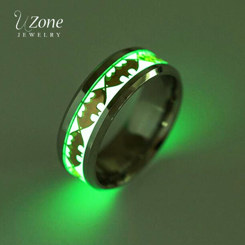 UZone Shiny Luminous Bat Ring Superhero Batman Logo Glow in Dark Stainless Steel Fluorescence Ring Movie Jewelry Drop Shipping image
