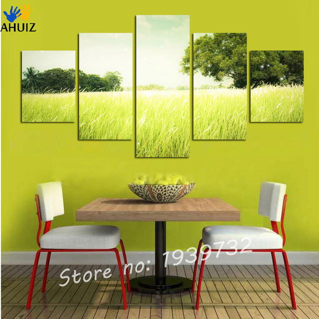 Online Shop 5 Panel Tree Paddy Fields Painting Picture Cuadros Wall ...