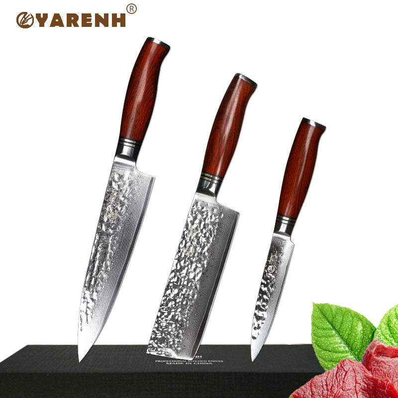 YARENH 3 pcs cuisine couteaux set Japonais Damas couteau de cuisine en acier sharp Gyuto chef utilitaire cuire outil avec Dalbergia poignée