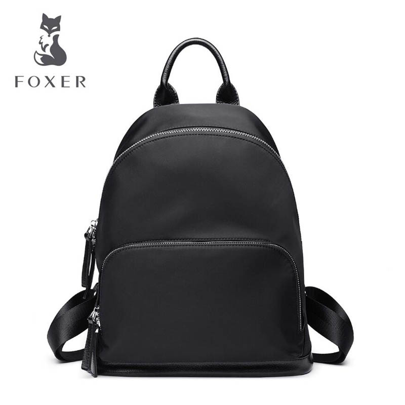 FOXER brand 2018 new  Simple wild women backpack fashion quality Nylon material Travel bag student bag leisure women backpack women bag 2016 new foxer brand women genuine leather backpack fashion quality women cowhide leisure wild student backpack