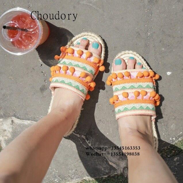 Top Designer balle Pom Pom dame pantoufles Floral embelli femmes appartements gladiateur sandales chaussures fille tongs chaussures livraison gratuite - 6