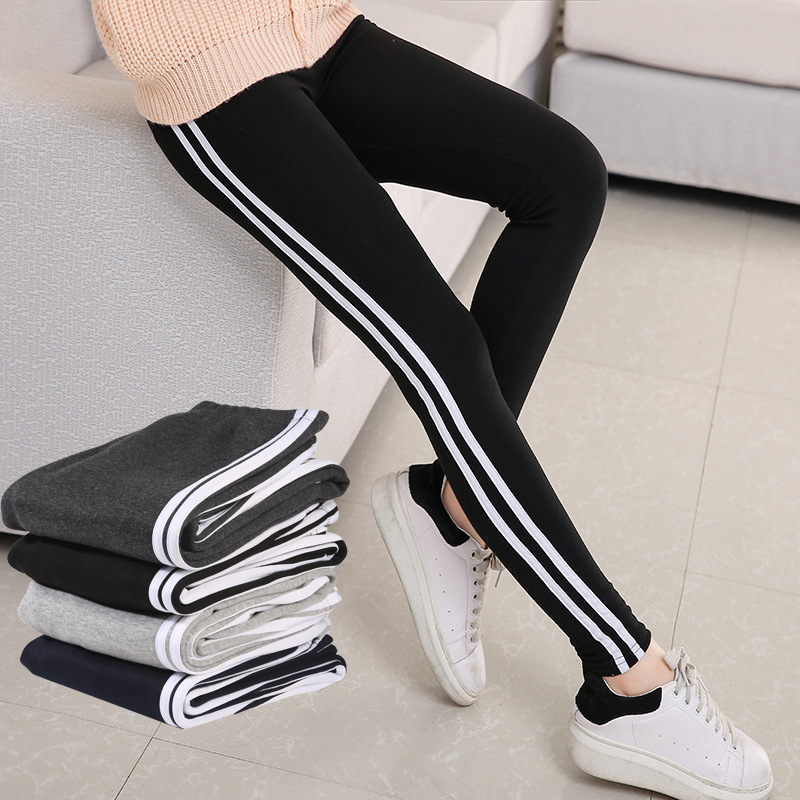 Pants 2017 Women Pencil Pants Side Striped Trousers High Waist Casual Fitness Pants Pantalon Femme Striped Pants Autumn Spring