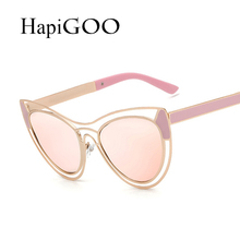 HapiGOO 2016 New Fashion Cat Eye Sunglasses Women Vintage Butterfly Brand Designer Sunglasses Rose Gold Mirror Sun Glasses UV400