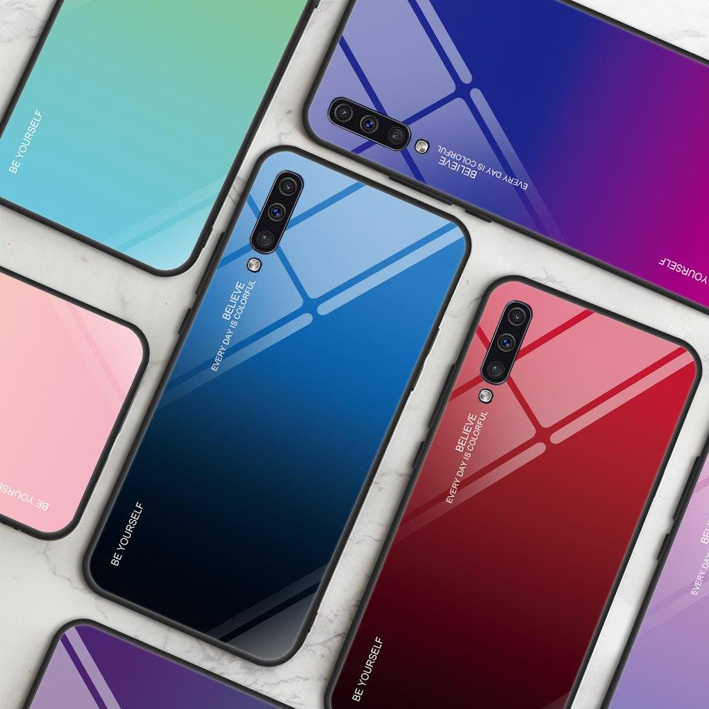Чехлы из закаленного стекла для Samsung Galaxy A50 A30 A10 A20 A40 A60 A70 on A 50 60 70 30 20 40 2019, чехол-бампер с градиентом цвета сзади