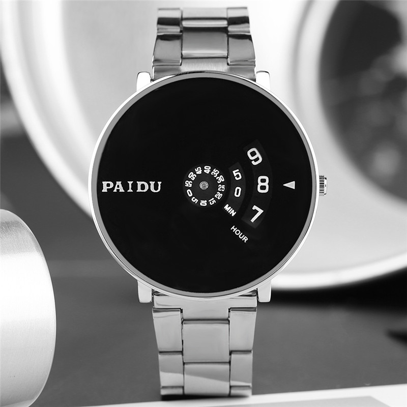 PAIDU Minimalist Turntable Watch Creative Safe Lock Dial Stainless Steel Band Cool Men Boys Casual Wristwatch Modern Geek Clock купить в Москве 2019