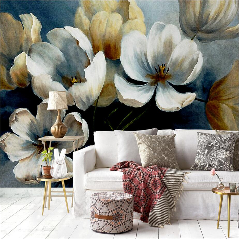 Custom Flowers Photo Wallpaper Hand-Painted Flowers 3d Wall Murals Embossed Non-Woven Bedroom Wall Mural for Living Room Kitchen custom 3d elegant hand painted flowers