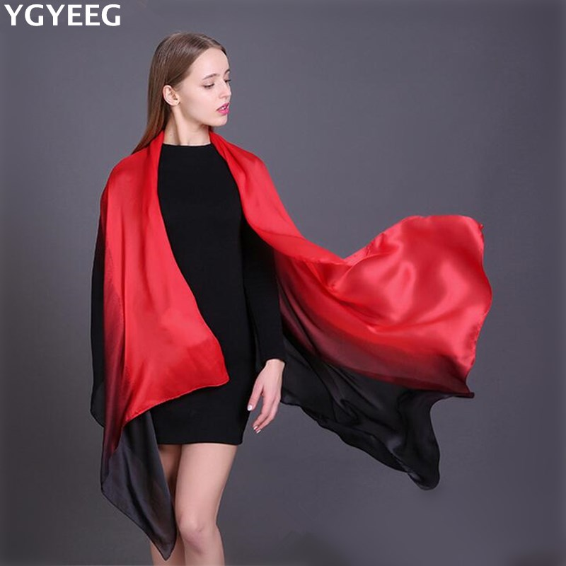 YGYEEG Fashion Winter Women Soft Silk   Scarf     Wrap   Shawl Solid Adult Designer   Scarf   Gradient Cotton Printed Pashmina Warm   Scarves