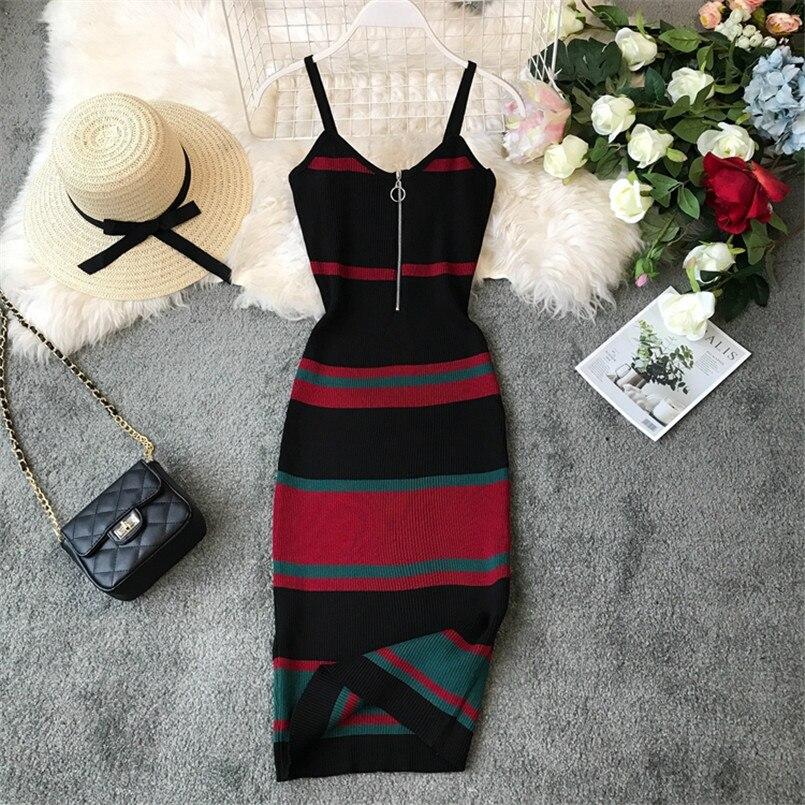 New Fashion 2020 Slim Summer Striped Print Knitted Cotton Sheath Midi Dress Women Spaghetti Strap Casual Party Bodycon Vestidos