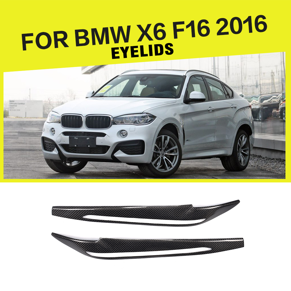 car-styling carbon fiber front Lamp eyelids Headlight Eyebrows Cover Car Sticker for BMW F16 X6 2016 2PCS/Set free shipping carbon fiber headlight covers eyelids eyebrows fit for mazda 6 vi ruiyi 09 13