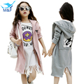 M&F 2016 Fashion Girl Autumn Jacket Kids Long Coat With Removable Hoodies Girl Cartoon Outerwear Cotton Children Clothing 3-14Y