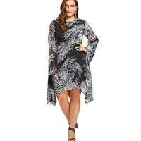 CharMma 2017 Plus Size 5XL 4XL Color Block Print Chiffon Dress Women Clothing Bell Flare Sleeve