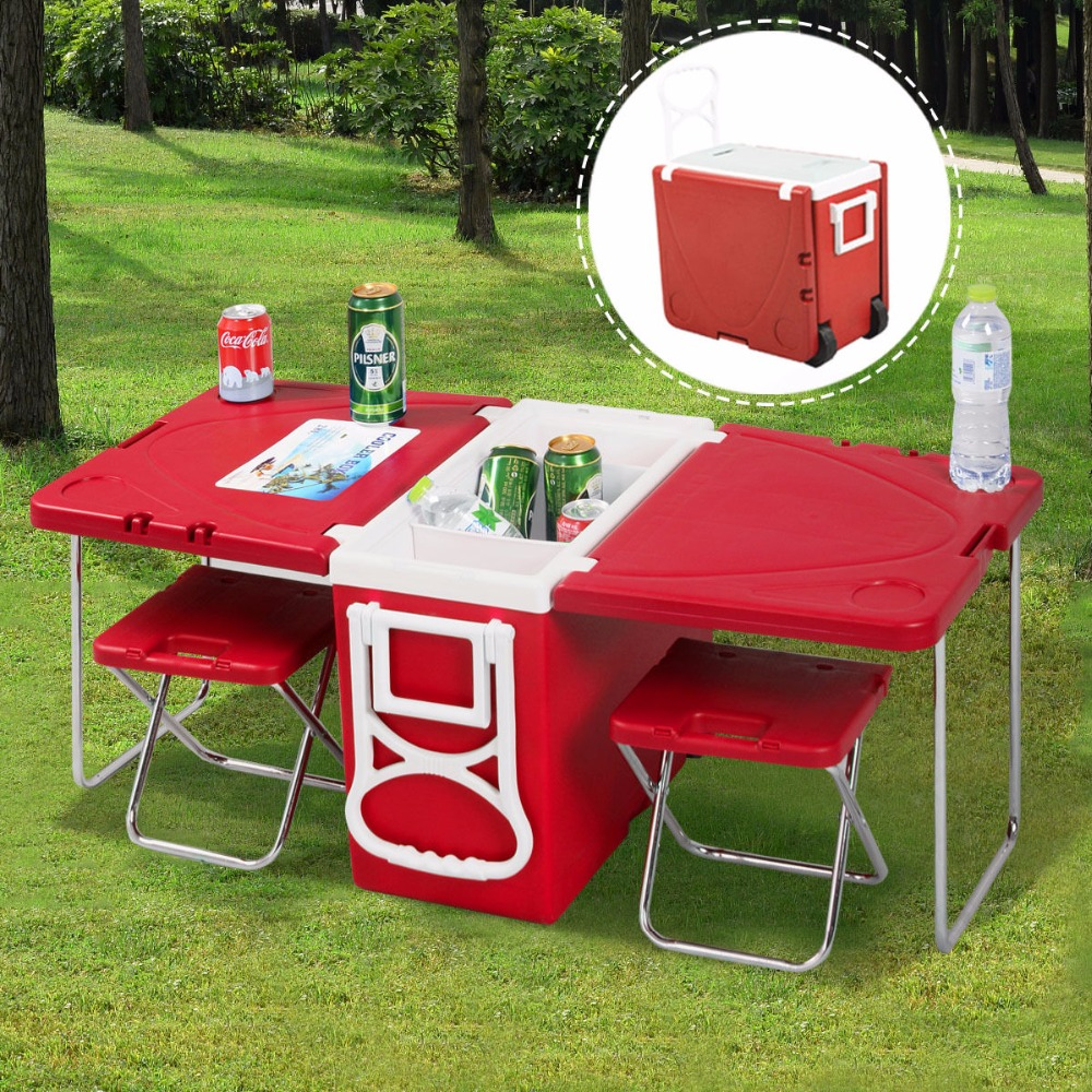 Outdoor Table And Chair Set Us 69 99 25 Off Goplus Multi Function Rolling Cooler Box Picnic Camping Outdoor Furniture Set Folding Garden Outdoor Table 2 Chairs Hw51118 In