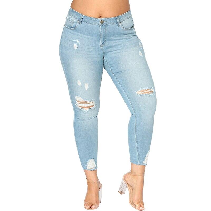 Romacci Women Plus Size Ripped Jeans 5XL 6XL 7XL Slim Denim Destroyed Hole High