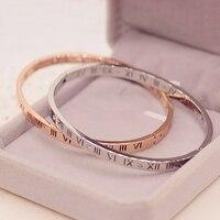 Solid Titanium Stainless Steel Set Zirconia Stone Rome Number Cuff Bangle Bracelet Women Narrow Band Elegant