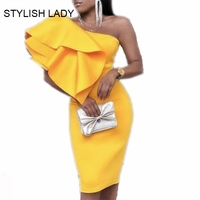 STYLISH LADY Yellow Ruffle Bodycon Dress 2019 Summer Women One Shoulder Irregular Club Party OL Midi Ruffle Vestidos Femininos