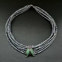 19 6 Strands Black Pearl Necklace CZ Pave Beetle Connector