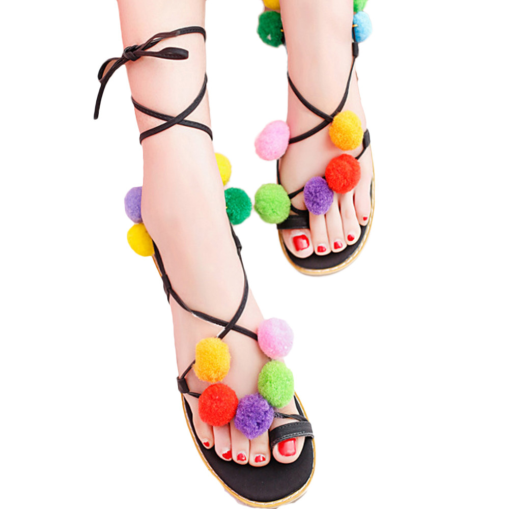 100% Brand New Women Pom Pom Fashion design Leather Sandals Lollipop Colorful Beaded high quality Shells Sandals