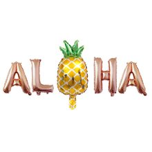 Hawaii Party Decorations Pineapple Foil Balloons Aloha Party balloon Letter Air Balloons Pineapple Party Supplies Fruit Globos(China)