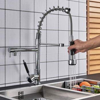 Chrome Kitchen Faucet Single Handle Sink Pull Down Spray Mixer Tap 360 Swivel Handheld Shower Kitchen Faucets chrome spring pull down spray kitchen sink faucet single handle one hole mixer tap