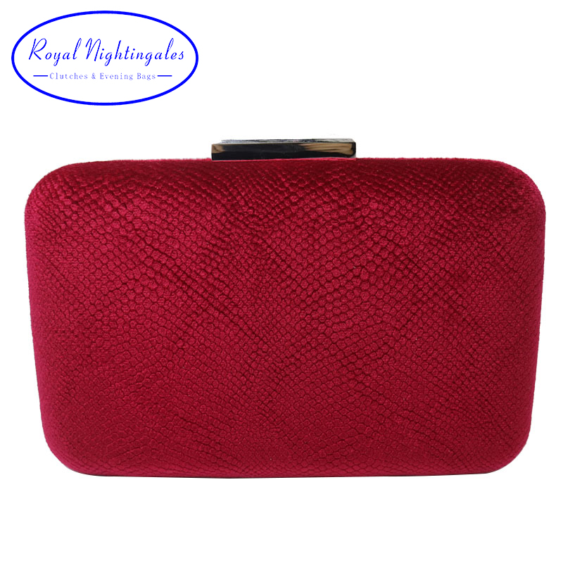 Royal Nightingales Large Hard Box Red Velvet Evening Clutch And Evening Bags