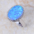 Absorbing High Quality Grade Blue Fire Opal Silver Stamped 925 Fashion Jewelry Party Ring PJ006