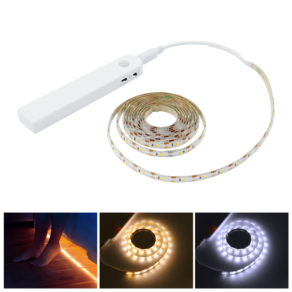 LED Wardrobe Light Motion Sensor 1M 2M 3M Under Cabinet Lights Stair Tape Waterproof 5V USB LED Strip Closet Kitchen Night Lamp