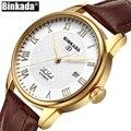 Роскошные автоматические механические часы BINKADA  золотые классические мужские часы с автозаводом  мужские наручные часы с скелетом и турби...