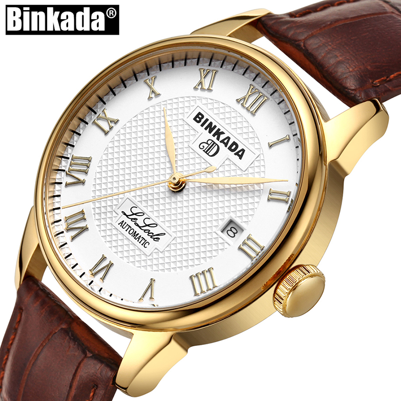 Luxury BINKADA Automatic Mechanical Watch Gold Classic Mens AUTO Date Self-Winding Mens Watch Skeleton Tourbillon Men Wristwatch winner luxury men classic date automatic mechanical watch self winding skeleton black leather stainless steel strap wrist watch