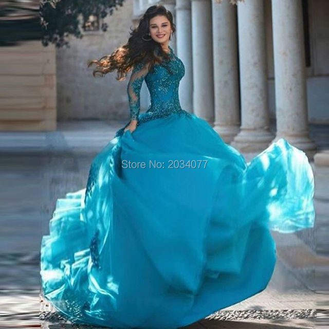 2017 New Designer Abiye gece elbisesi Long Turquoise Dresses Turkish  Evening Gowns Beaded Sequined Lace Custom Made Ball Gown 914cfa27ce77