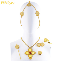 Ethlyn Cross Coins Ethiopian Eritrean Hair Traditional Jewelry Accessories Yellow Gold Plated Stone Wedding Sets S0101