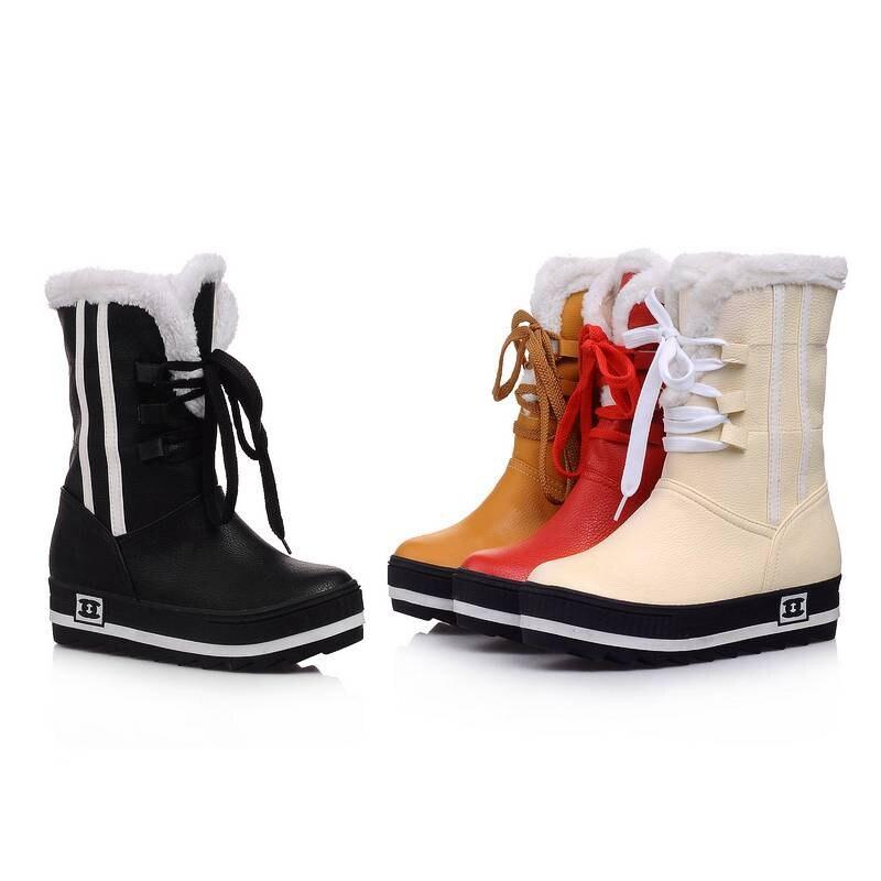 De Botas Tamaño Clásicos Invierno Zapatos rojo Impermeables Otoño Negro 34 Montar Nieve 2018 amarillo blanco negro Beige Mujeres Plataformas 43 Primavera AtXqzrxX