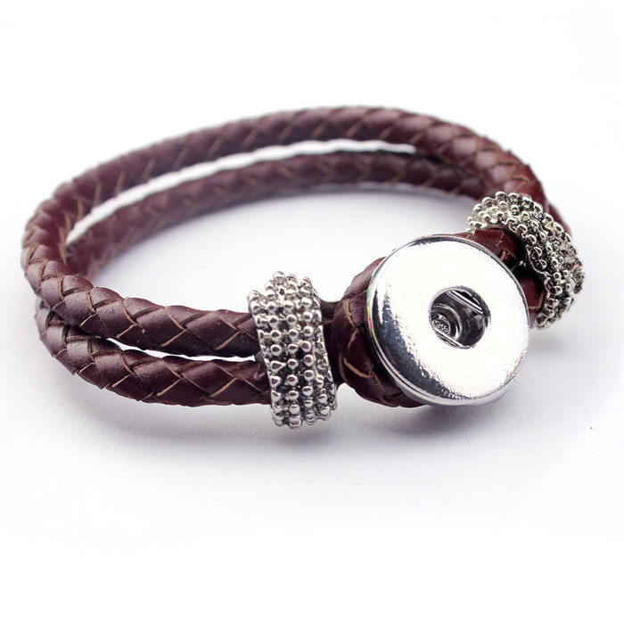 10pcs/lot free ePacket ship REAL Genuine BRAIDED LEATHER Brown DIY STYLE SINGLE SNAP BUTTON CHARM BRACELET