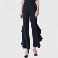 Office style spring summer women navy wine red natural silk ruffles wide leg pants trousers broeken ropa pantalones mujer LT2101