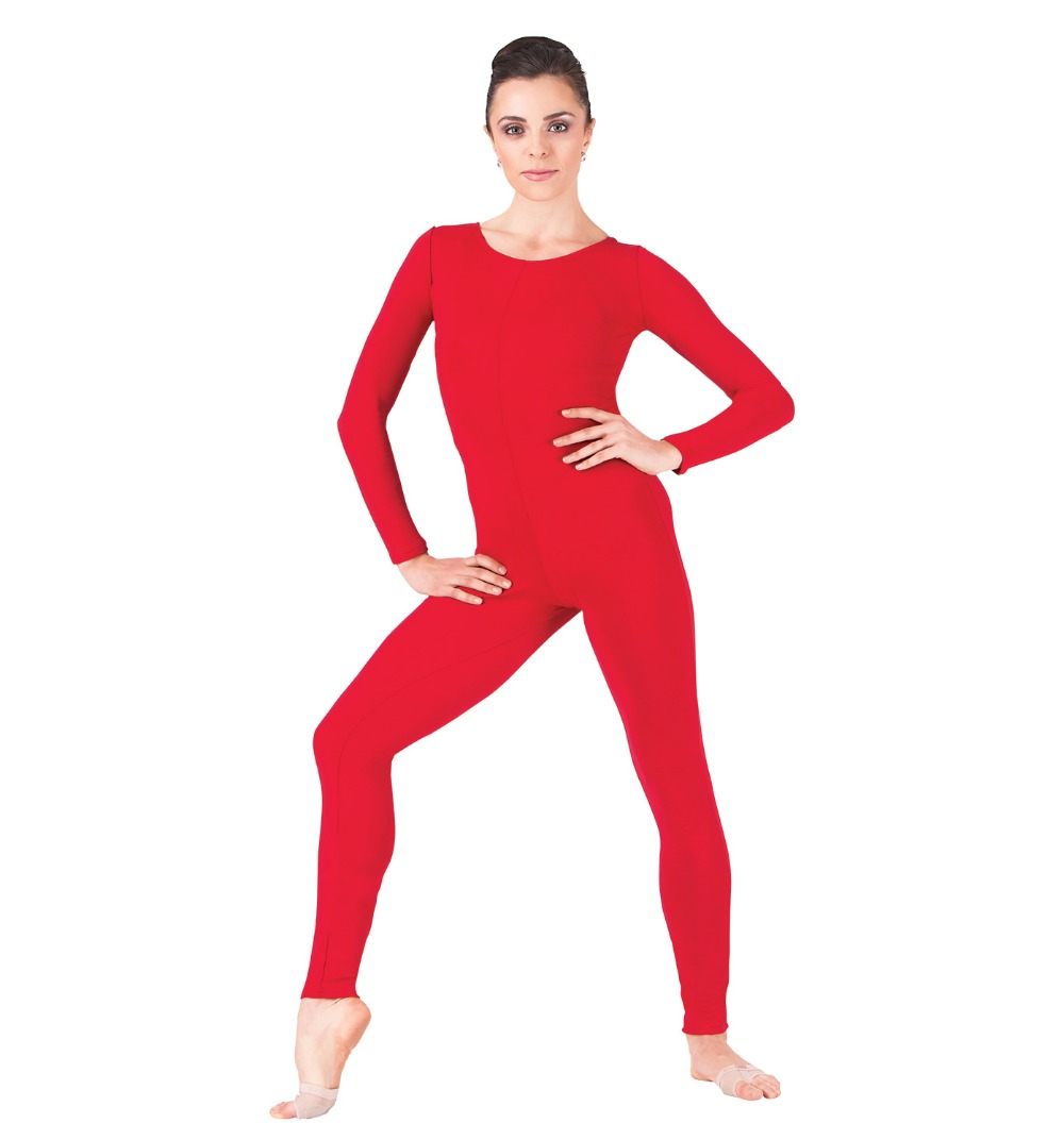 Adult Red Scoop Long Sleeve Unitard Lycra Spandex Full Body Gymnastics Unitard Second Skin Tight Bodysuit Dance Women