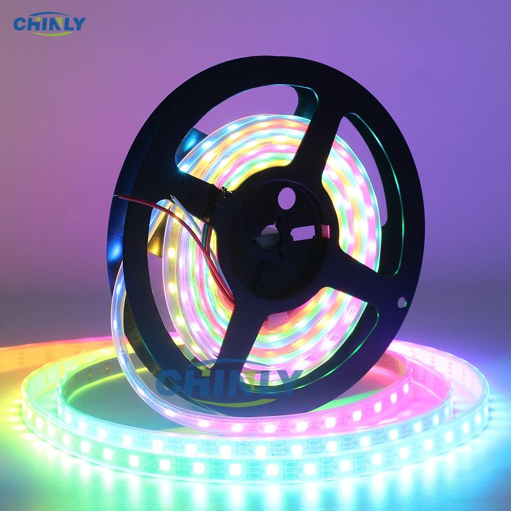 Светодиодная лента WS2812B, RGB смарт-пикселей, 1 м/4 м/5 м, черная/белая, водонепроницаемая, 5 В, 60/144 светодиодов