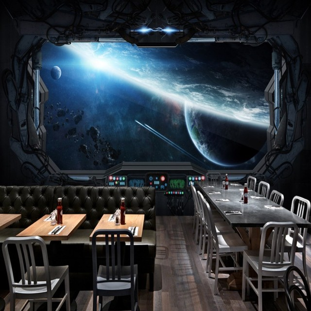 photo wallpaper 3D Stereo restaurant mural Internet cafes