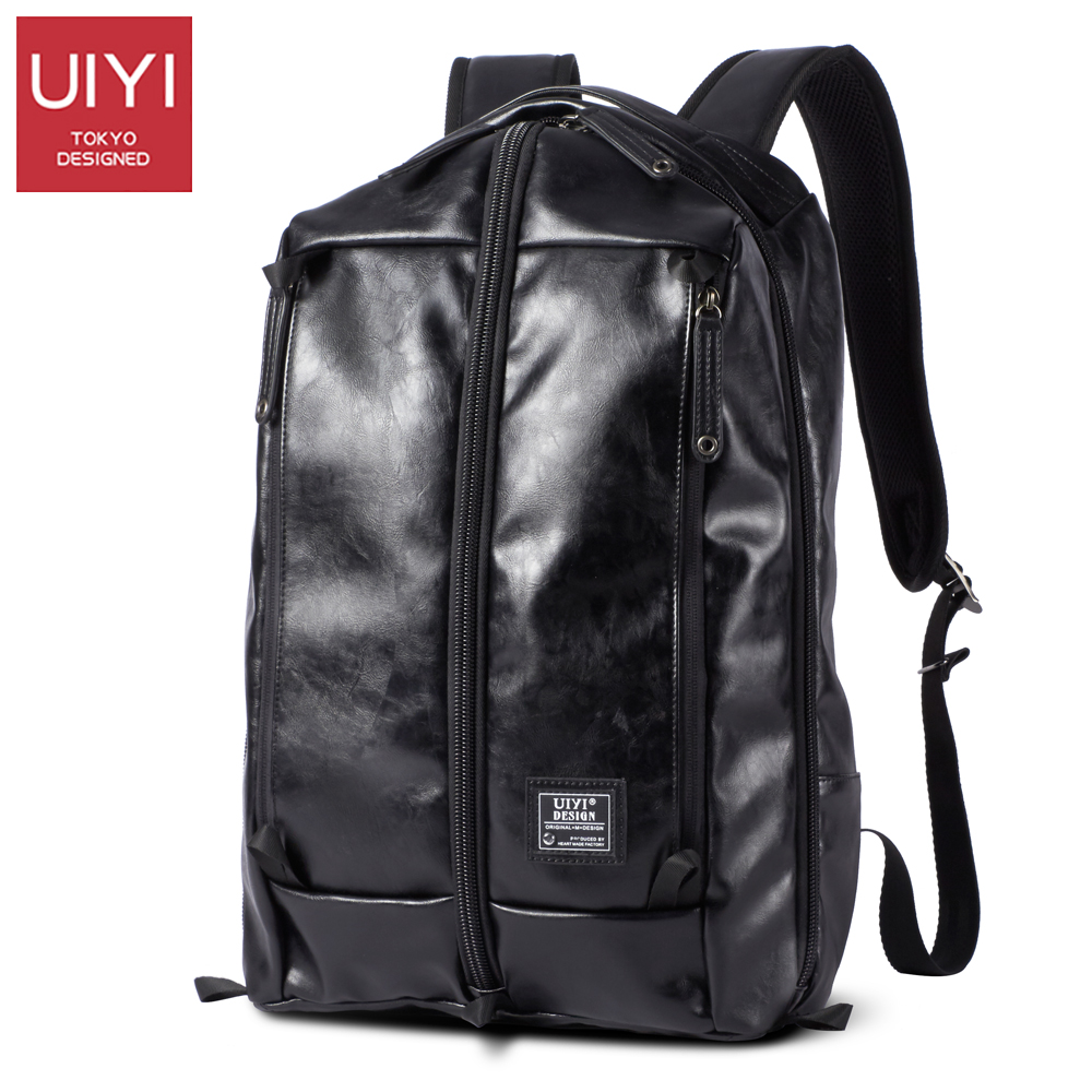 UIYI Men backpack black leather PU bag Casual waterproof backpack male shoulder Back bag For boy girls bags mens # UYB6090 unme children schoolbag for grade 1 3 girls backpack waterproof leather light for boy