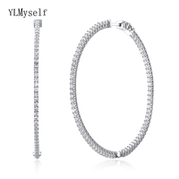Recommend 56mm large Sterling silver hoop earring micro pave tiny crystal jewelry jewellery big 925 silver circle earrings