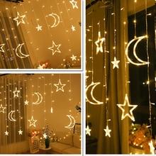 Estrela da lua guirlanda de natal led cortina icicle string luz ue/220v 3.5m interior led festa jardim palco navidad luz decorativa