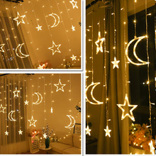 Moon Star Christmas Garland LED Curtain Icicle String Light EU/220V 3.5m Indoor LED Party Garden Stage Navidad Decorative Light