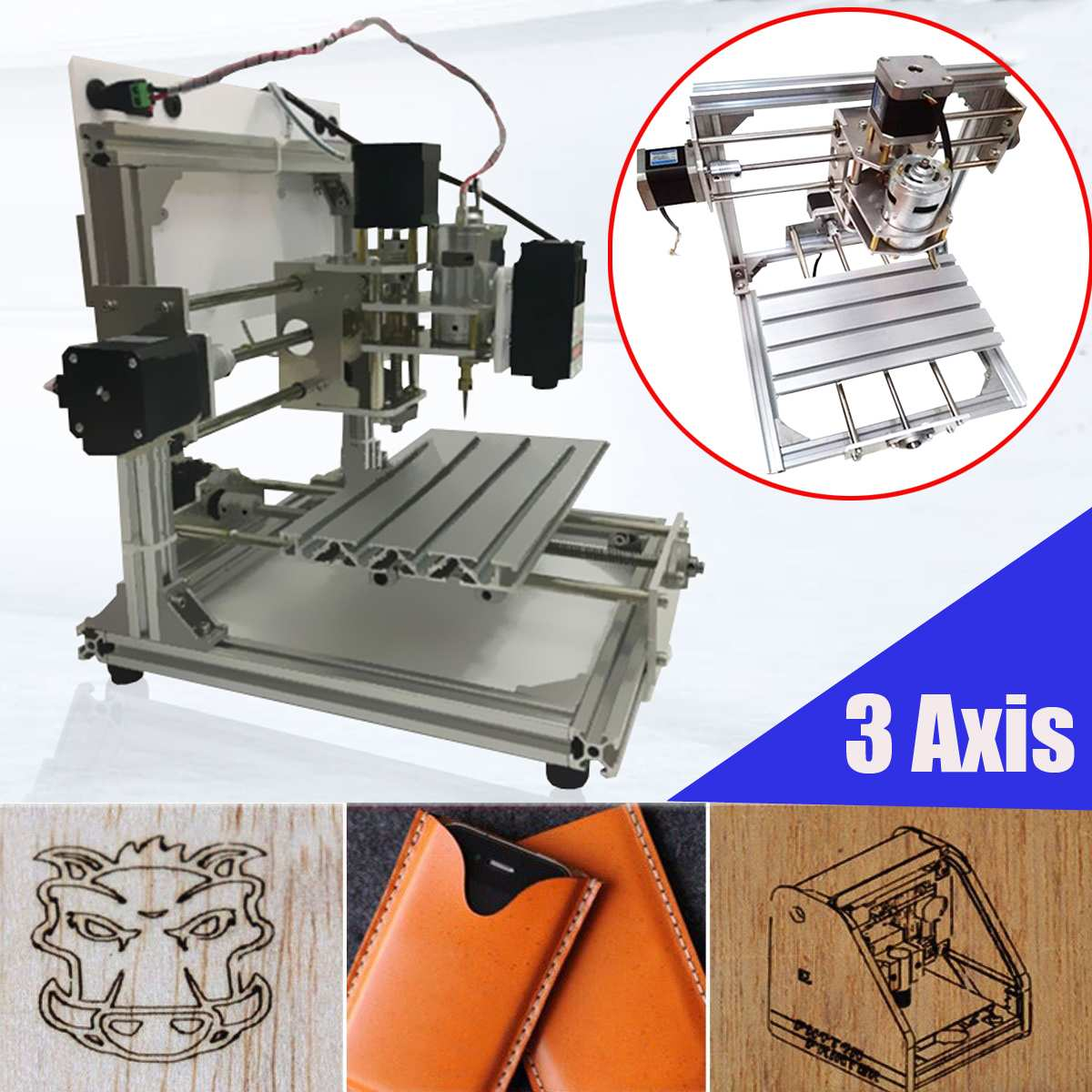 High Quality CNC 3 Axis 2020 Router DIY Wood Engraving Carving PCB Milling Machine DIY GRBL Wood Router Laser Engraving