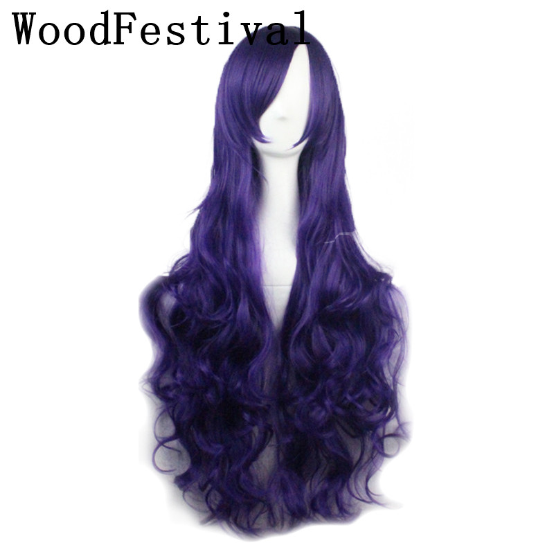 WoodFestival 80 Cm Women Synthetic Wig Long Wavy Green Black White Brown Blue Purple Orange Pink Red Cosplay Wigs With Bangs