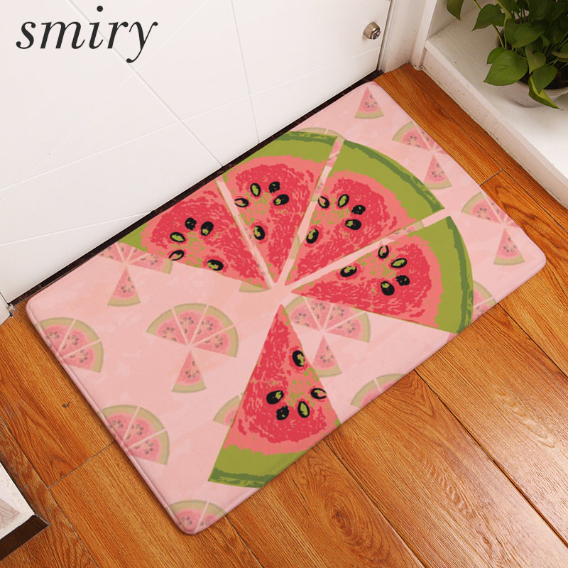 Smiry Light Thin Flannel Welcome Home Entrance Door Mats Cool Summer Fruit  Apple Watermelon Carpets Anti Slip Kitchen Floor Rugs