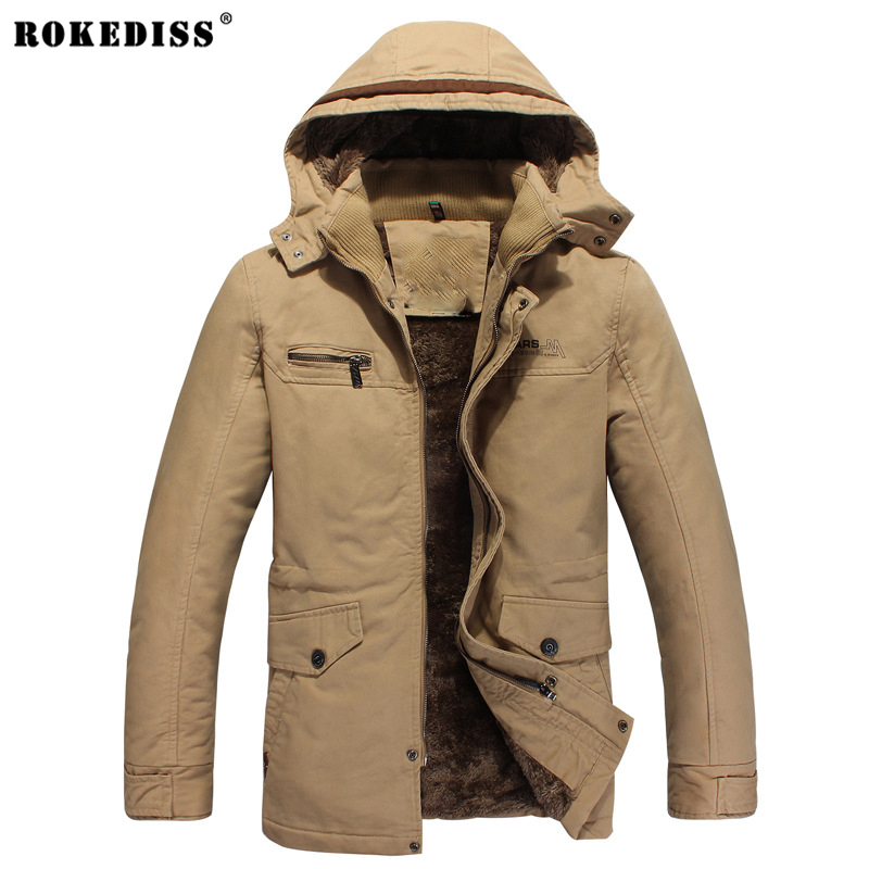 ROKEDISS 2017 fashion New Men's With a hat Jackets Men Spring Autumn Jacket Coats Plus cashmere Male Brand Clothing W023