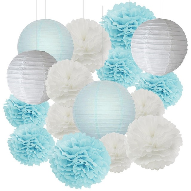 16pcs Boy Baby Shower Decorations Baby Blue White Mixed Tissue Pom