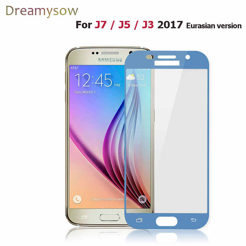 Dreamysow Full Cover Tempered Glass For Samsung Galaxy J3 5 7 2017 J330 J530 J730 J3 5 J7 PRO Screen Protector Film Safety Glass